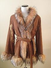 Stunning Vinicio Pajaro Made In Italy Argentina Fox Suede Fur Coat Womens M