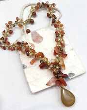 Gemstone Necklace Carnelian Gold Coloured Fresh Pearls Silk Thread Fair Trade