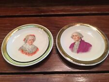 "Vintage George And Martha Washington Porcelain Hanging Wall Plates 3.25"" Diamete"