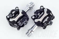 [US SELLER] New Wellgo M250 Bike CLIPLESS Pedal SPD COMPATIBLE Cleat 98A - Black