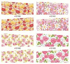 4 Patterns Rose Flower Water Decals Elegant Floral Nail Art Full Stickers