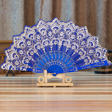 Chinese Fan Silk Lace Fabric Folding Held Dance  Hand Fan Party Wedding Prom