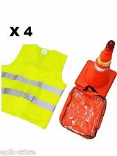 "➨�� 4x 18"" Collapsible LED Traffic Safety Cones + Reflective Yellow Vest��█"