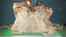 Funky Friis Company Embroidered Brown Suede Purse Handbag fair Condition