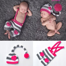 Lovely Newborn Baby Crochet Knit Ball Long Tail Hat Outfits Photography Costume
