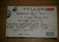 SWANSEA CITY V BLACKBURN ROVERS USED TICKET 30/07/05 2ND EVER GAME @ LIBERTY