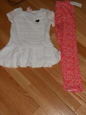 NWT -Juicy Couture 2pc white &pink outfit w/short sleeve top & leggings -4 girls