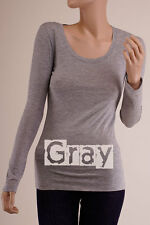 Women's BASIC LONG SLEEVE Round-Neck SOLID Cotton Casual Thin T-Shirt S ~ 3XL