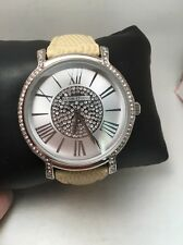 Elgin Studio Ladies Crystal Silver Dial Tan Leather Band Watch ELST11A-H46