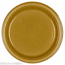 "20 GOLD 9"" Large Round PLASTIC Party Wedding Plates"