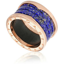 Bvlgari B.Zero1 4 Band 18K Rose Gold and Blue Marble Ring Size- 56 347689