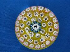 "JOHN DEACONS CONCENTRIC MULTI  MILLEFIORI RAM PAPERWEIGHT: Yellow Core, 2"",w.Tag"