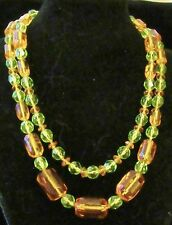 VTG 20'S/30'S ART DECO FACETED GREEN/AMBER GLASS BEAD NECKLACE W/TINY BUBBLES-37