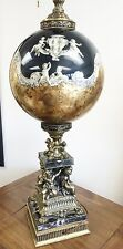 Beautiful Antique Large Brass Marble Base Cherub Lamp