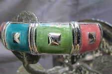 VINTAGE DECO DESIGNED OVAL PINK GREEN TOURQUISE SILVER PLATED SNAP ON BRACELET