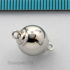 1x RHODIUM plated STERLING SILVER PLAIN ROUND BALL MAGNETIC CLASP 10mm #2658