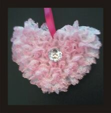 PRAM CHARM KNITTING PATTERN, KNIT IN LACE, HEART AND FLOWER, VERY EASY