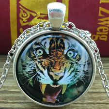 Vintage Tiger Cabochon Tibetan silver Glass Chain Pendant Necklace #328