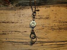 Antique Gold Bullet Necklace w/Handcuff Charm (Brass 38's) (N325)