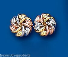 9ct Three Colour Gold Knot Stud Earrings 10mm (1424)
