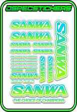 SANWA RC RADIO CONTROL STICKERS MT4 M12 SERVO RX TX CAR BUGGY ELEC BLUE GREEN W