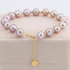 Pure 18k Yellow Gold Woman's Lucky 7mm Purple Pearl Link Chain Bracelet Au750