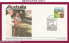 W510 VATICANO FDC ROMA GIOVANNI PAOLO II WOJITYLA VISITA AUSTRALIA CAMBERRA 1986