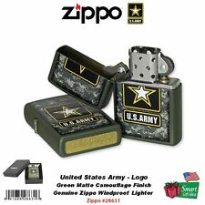Zippo US Army Strong Lighter, Green Matte Camouflage, Windproof #28631
