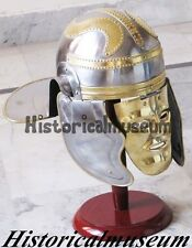ROMAN CENTURION OFFICER'S HELMET GALLIC HELMET BRASS FACE HELM KNIGHT ARMOR FGT8