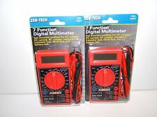 2 NEW CEN-TECH 7 FUNCTION DIGITAL MULTIMETER & BATTERY TESTERS.