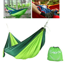 Double Outdoor Hammock Swing Bed Portable Parachute Nylon Fabric Blackish Green
