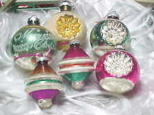 6 Vtg Glass Xmas Ornament Lot Shiny Brite PINK TEAL Stencil DOUBLE INDENT SHAPES