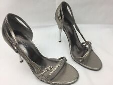 Ladies ALDO Leather Silver High Heel Strappy Sandals Shoes Size 5