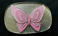 PINK BUTTERFLY WITH A SHINY SILVER BACKGROUND BELT BUCKLE