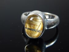22 cts. RUTILATED QUARTZ CAT'S EYE QUARTZ IN SOLID STERLING SILVER RING JEW 415