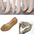 Womens Breathable Crystal Glitter Ballet Hollowed Flats Sandal Flip Jelly Shoes