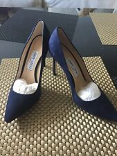 JIMMY CHOO Romy Pointy Toe Navy Blue Suede Pumps High Heel Shoes Size 7.5 NEW