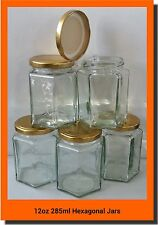 72 X 280ml 12oz HEX PRESERVE HEXAGONAL GLASS JAR JAM HONEY CHUTNEY GOLD LIDS