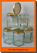 24 X 280ml 12oz HEX PRESERVE HEXAGONAL GLASS JAR JAM HONEY CHUTNEY GOLD LIDS