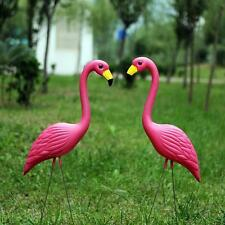 2Pcs Pink Flamingos Plastic Yard Garden Lawn Art Ornaments Decoration Stakes