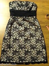 WHITE HOUSE BLACK MARKET Black White LACE Cocktail Dress Size 0 $158