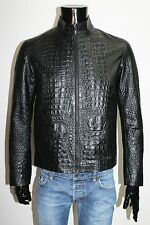 ITALIAN HANDMADE MEN LEATHER SLIM FIT BLOUSON JACKET CROCODILE BLACK XL