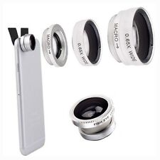 Silver 3 en 1 fisheye grand angle macro photo lens clip set de caméra de téléphone mobile