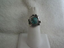 STUNNING H. SLIM Handcrafted Navajo Turquoise Sterling Silver Ring Size 7 1/2