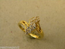 Lady's Women's Yellow Gold Plated Fancy Cocktail Ring 16 Clear CZ's Size 9 New
