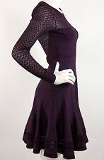 Diane Von FURSTENBERG Long Sheer Knit Sleeve Purple Peplum Bandage Dress Size S