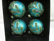 Teal Beaded Gold Glitter Peacock Glass Christmas Ornaments Set 4 LAST ONE!!