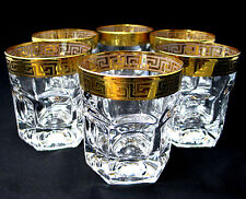 SET of 6 Italian Crystal Whiskey Rocks DOF Glasses, 24K Greek Key Trim, 10 Oz.