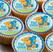 24 x 1st Happy Birthday I'M ONE Boys Teddy Cup Cake Boys Edible Wafer Toppers