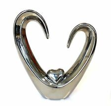 CB112 Sculpture Figure Object with heart Ceramic silver height 24cm